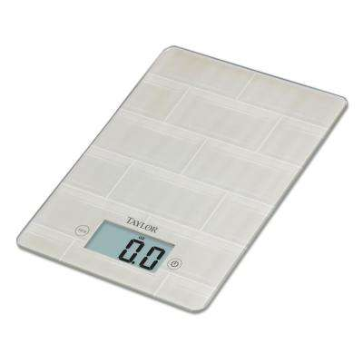 Digital Kitchen Scale with Glass in White Subway Tile Design