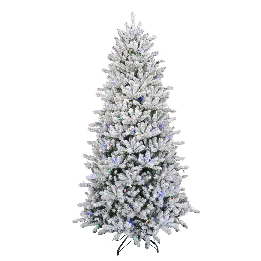 7.5 ft. Pre-Lit Led Flocked Balsam WRGB Artificial Christmas Tree ...