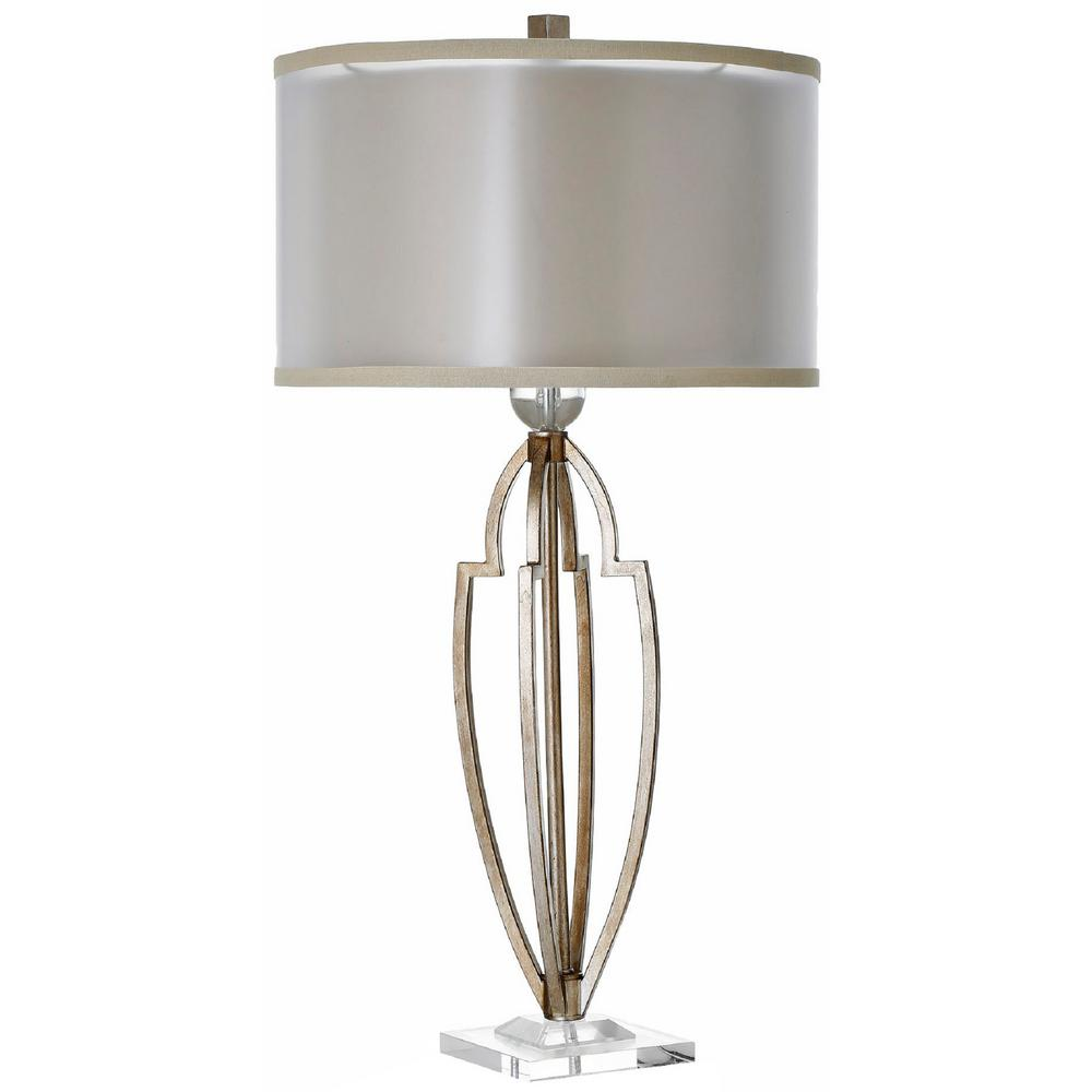 Decor living empire 33 in antique brass table lamp with double antique brass table lamp with double shade aloadofball