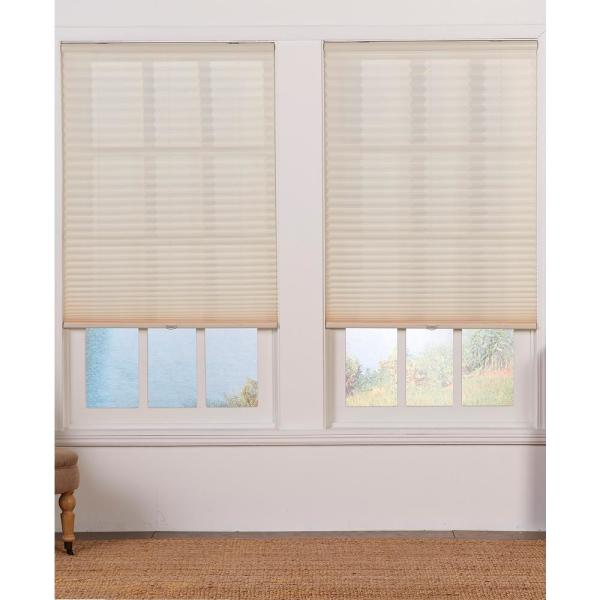Perfect Lift Window Treatment Cut To Width Ecru Cordless Light Filtering Pleated Shade 37 5 In W X 64 In L Qder374640 The Home Depot