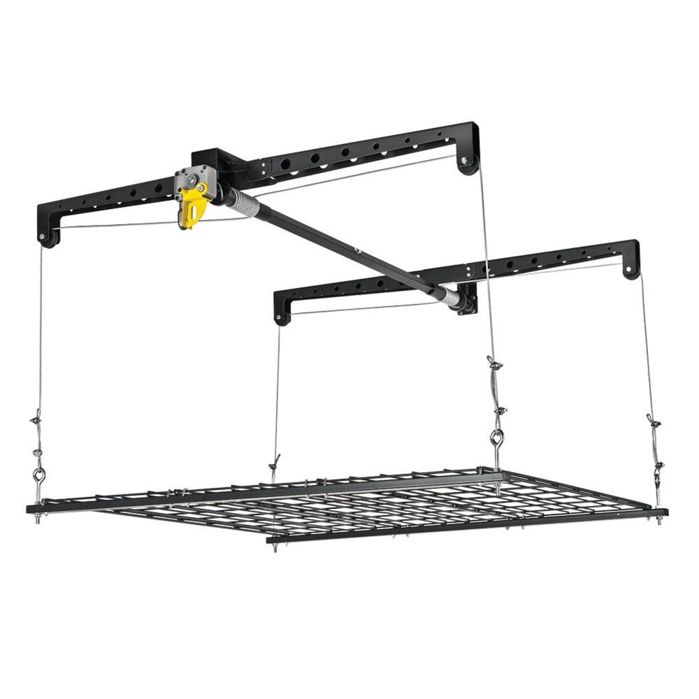 black epoxy finish racor ceiling mounted racks phl 1r 64_1000 racor 250 lb heavylift storage platform phl 1r the home depot  at readyjetset.co