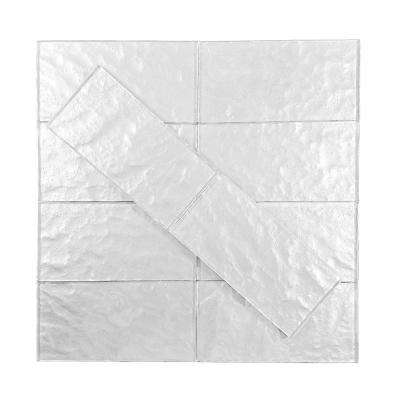 Metallics Silver Textured 3 in. x 6 in. Glass Wall Tile (1 sq. ft. / pack)