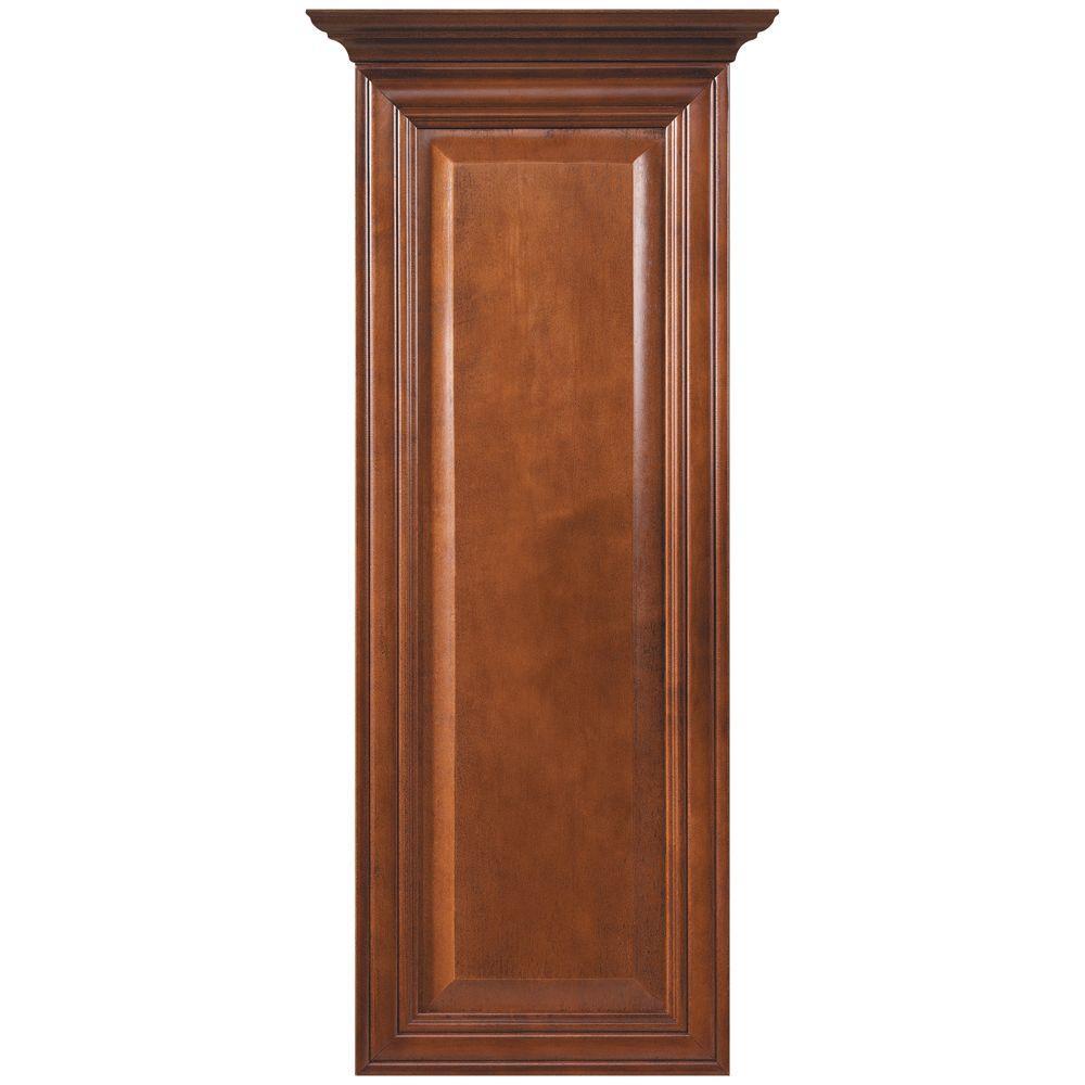 MasterBath Raised Panel 12 in. W Wall Hutch Cabinet in Cognac
