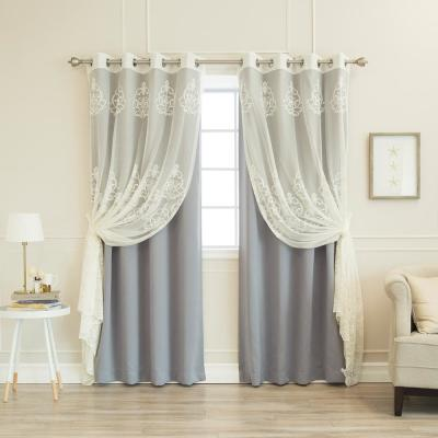 84 in. L uMIXm Sheer Agatha and Blackout Curtains in Grey (4-Pack)
