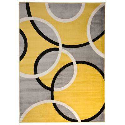Modern Abstract Circles Yellow 5 ft. 3 in. x 7 ft. 3 in. Indoor Area Rug