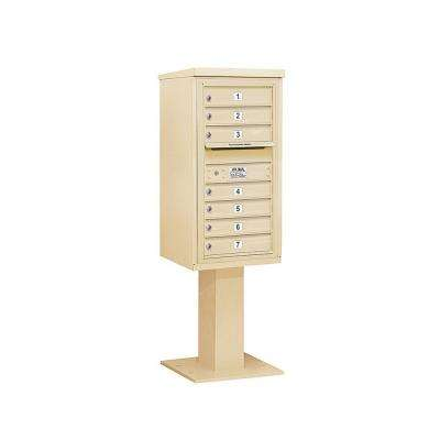 3400 Series Sandstone Mount 4C Pedestal Mailbox with 7 MB1 Doors