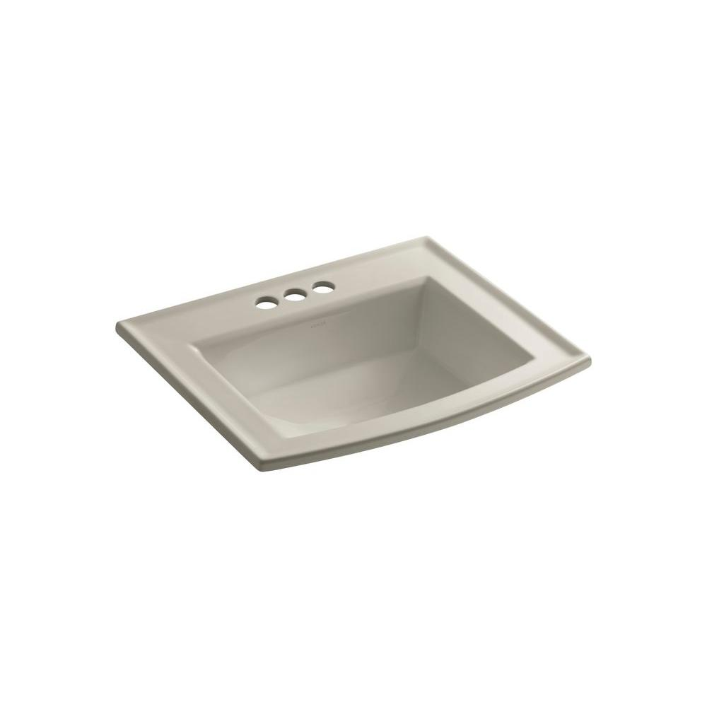 Archer Drop-In Vitreous China Bathroom Sink in Sandbar with Overflow Drain