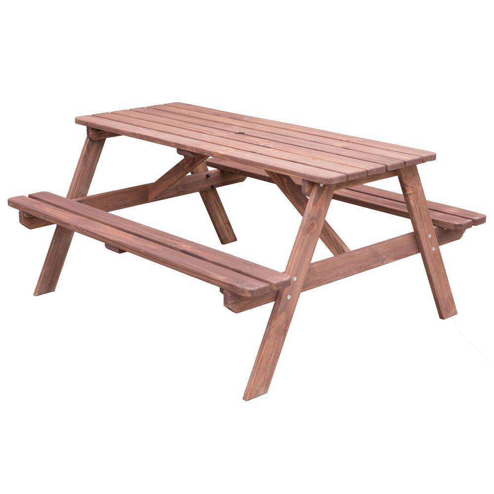 Stained Color A-Frame Wooden Outdoor Patio Deck Garden Picnic Table