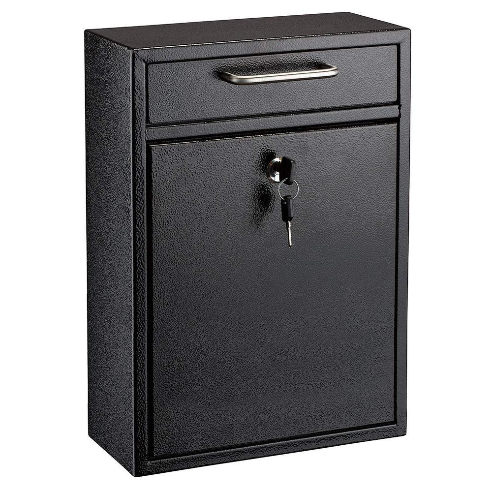 Large Ultimate Black Drop Box Wall Mounted Mail Box