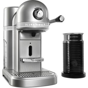 Nespresso 5-Cup Sugar Pearl Silver Drip Espresso Machine with Milk Frother