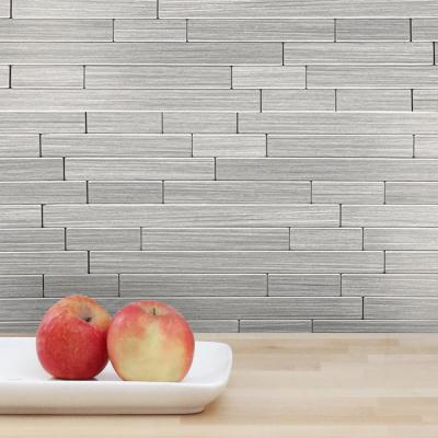 DIP Mini Silver Subway 10.75 in. x 13 in. Self-Adhesive PVC Aluminum Tile Backsplash (10-Pack)