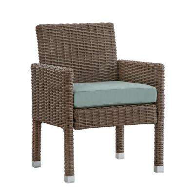 Camari Mocha Arm Wicker Outdoor Dining Chair with Blue Cushion (Set of 2)