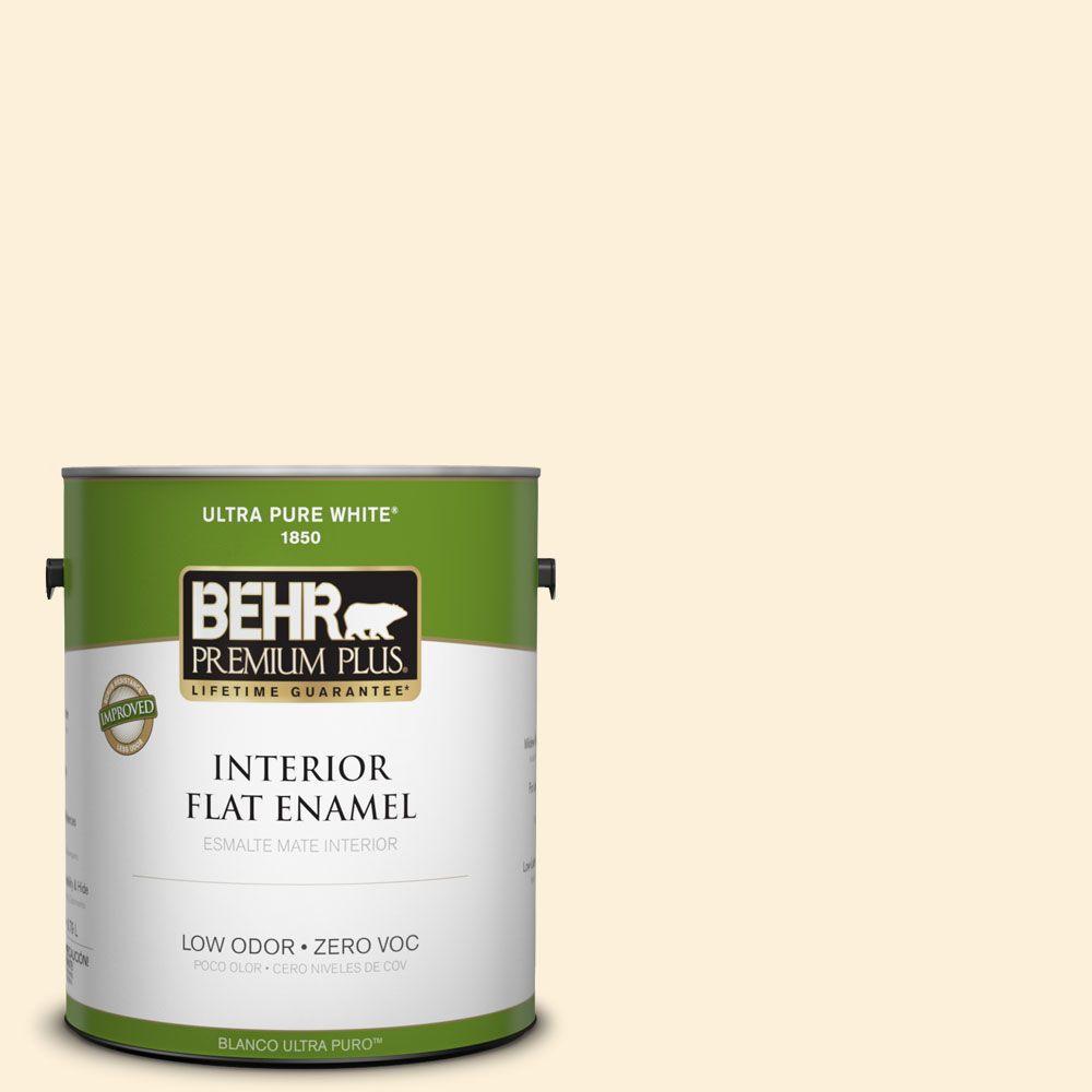 BEHR Premium Plus 1-gal. #W-D-220 Vanilla Custard Zero VOC Flat Enamel Interior Paint-DISCONTINUED