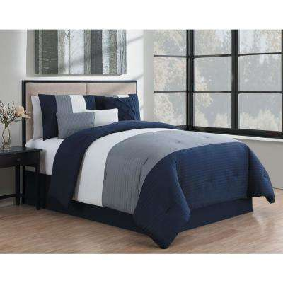 Manchester 7-Piece Navy and Grey and White King Comforter Set