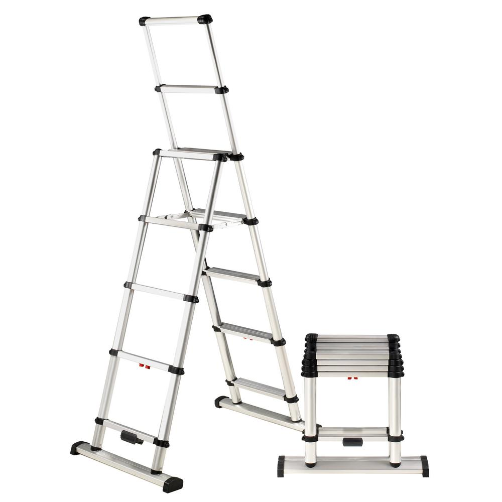 Telesteps 9 ft. Aluminum Professional Wide Step Telescoping A-Frame ...