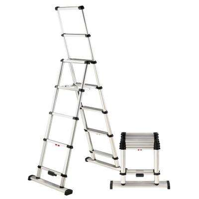 6 ft. Aluminum Professional Wide Step Telescoping A-Frame Ladder OSHA Compliant with 10 ft. Reach Height