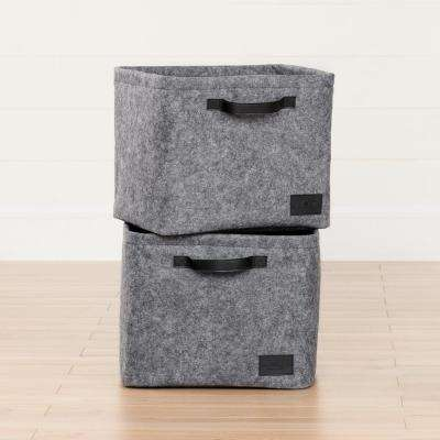 14 in. x 11.5 in. Storit Gray Large Woven Felt Basket (2-Pack)