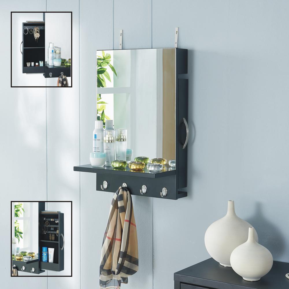 Urban Black Cabinet Mirror with Hidden Sliding Jewelry Door and Hanging Hooks