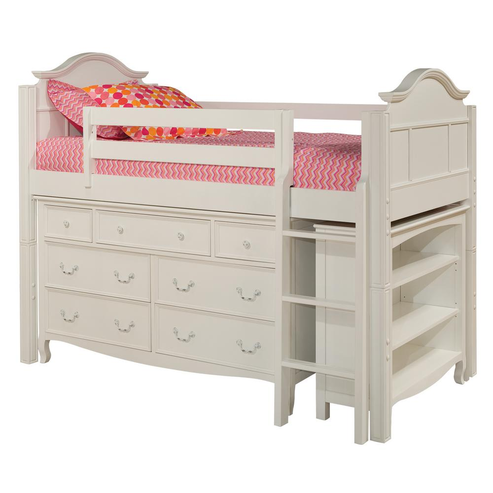 Emma White Twin Low Loft Storage Bed With 7 Drawer Dresser And