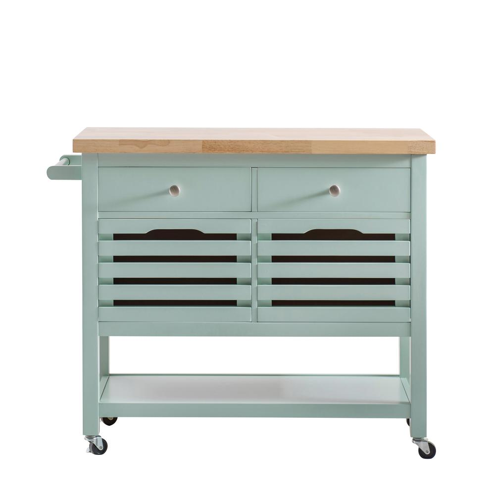 Genial Sunjoy New Jaden Aqua Body With Wood Top Kitchen Cart With 4 Drawers