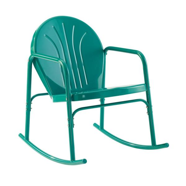 Griffith Turquoise Metal Outdoor Rocking Chair (2-Pack)
