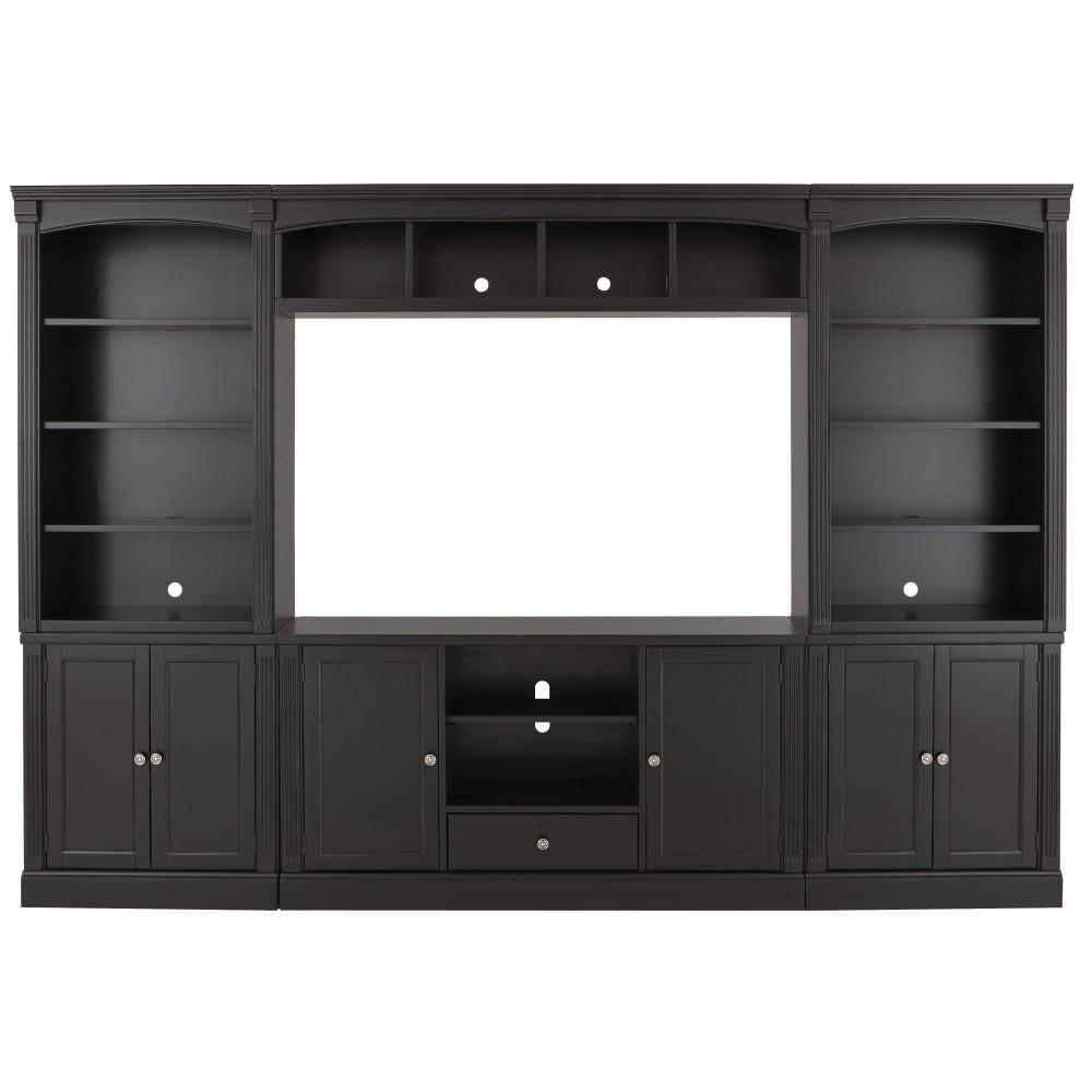 Edinburgh 6 Piece Black Modular Entertainment Center