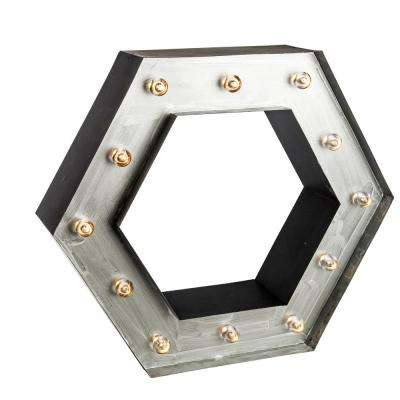 20.5 in. x 18 in. Black and Silver Metal LED Hexagon Wall Shelf