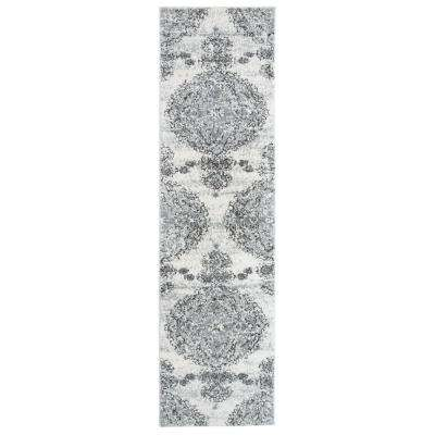 Traditional Distressed Ultra Soft Shag Gray 2 ft. x 7 ft. Runner Rug
