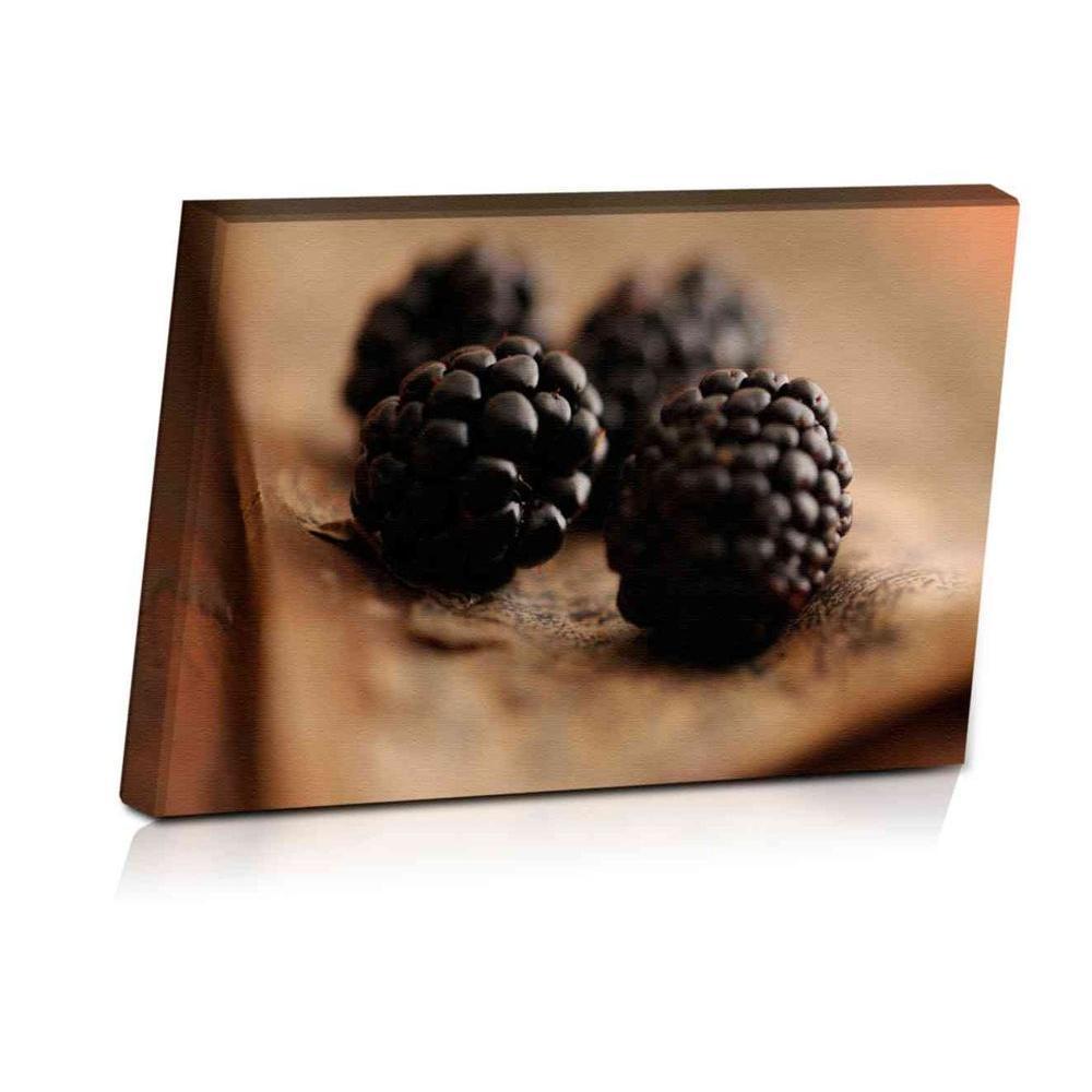24 in. x 16 in. Rustic Wild Blackberries Printed Canvas