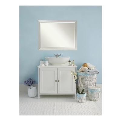 Sterling 44 in. W x 34 in. H Framed Rectangular Beveled Edge Bathroom Vanity Mirror in Brushed Silver
