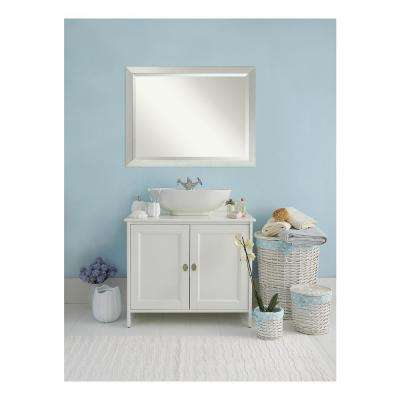 Sterling Brushed Silver Wood 44 in. W x 34 in. H Single Contemporary Bathroom Vanity Mirror
