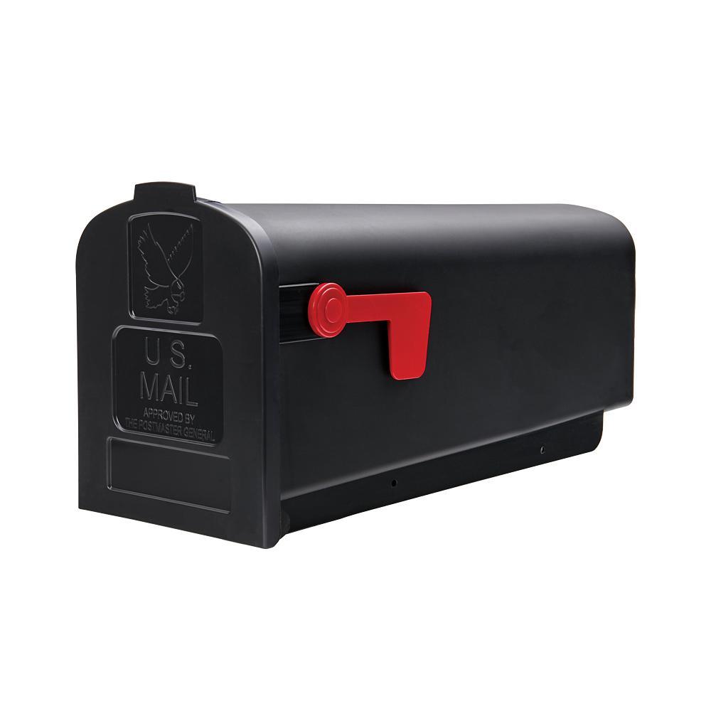 Parsons Medium, Plastic, Post Mount Mailbox, Black