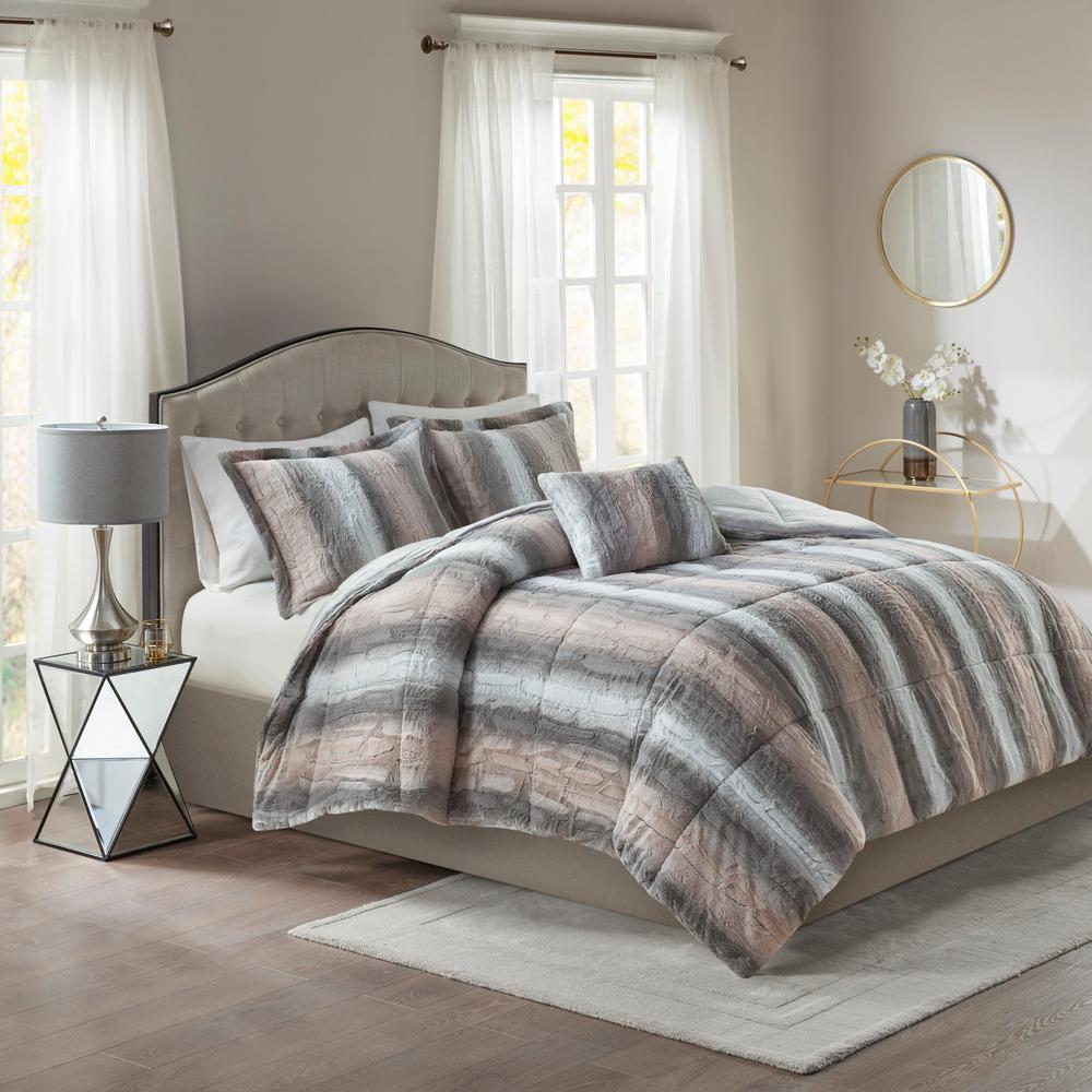 Marselle 4-Piece Blush and Grey Animal Print Faux Fur Polyester King Comforter Set