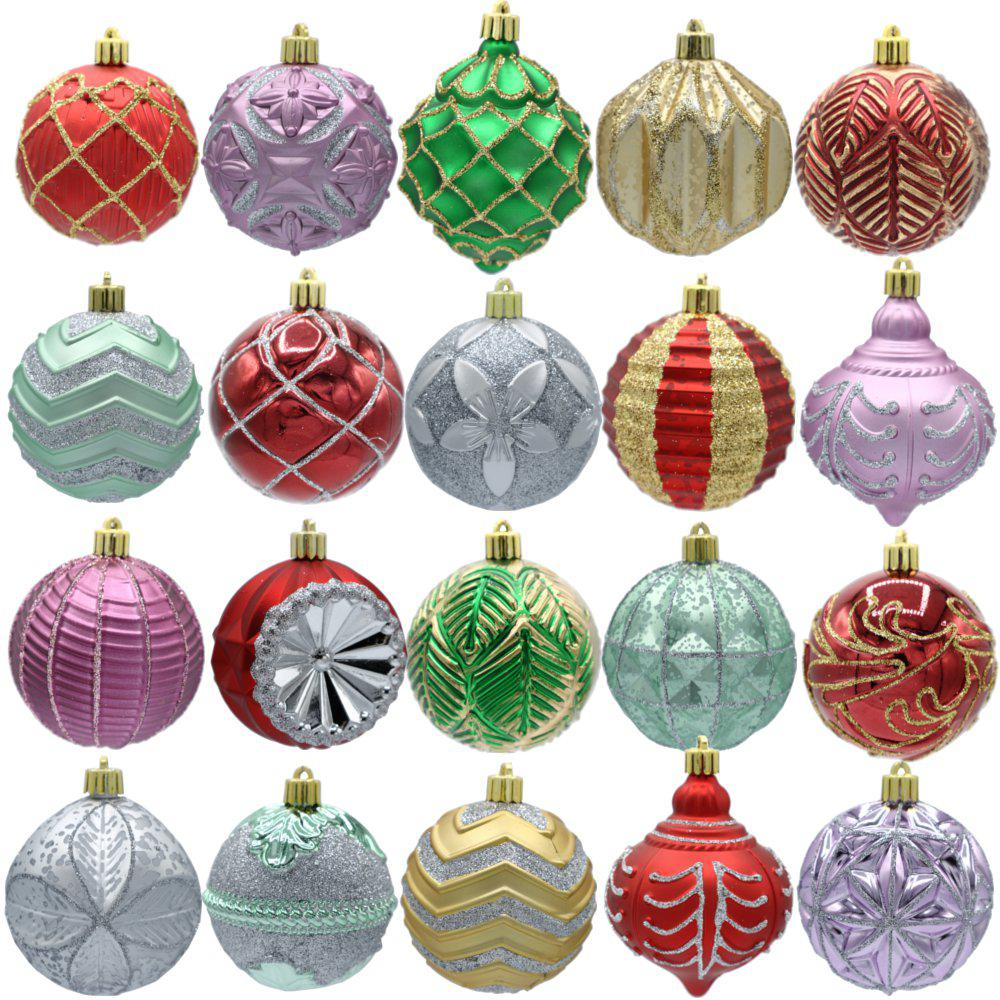 Home Accents Holiday Warm Tidings 80mm Assorted Ornament Set (20-Count)