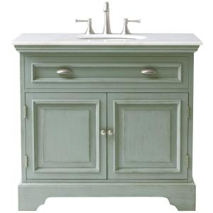 Home Decorators Collection Sadie 38 inch W Bath Vanity in Antique Light Cyan with Natural... by Home Decorators Collection