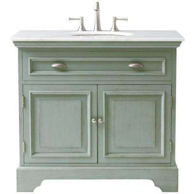 Sadie 38 in. W Bath Vanity in Antique Light Cyan with Natural Marble Vanity Top in White