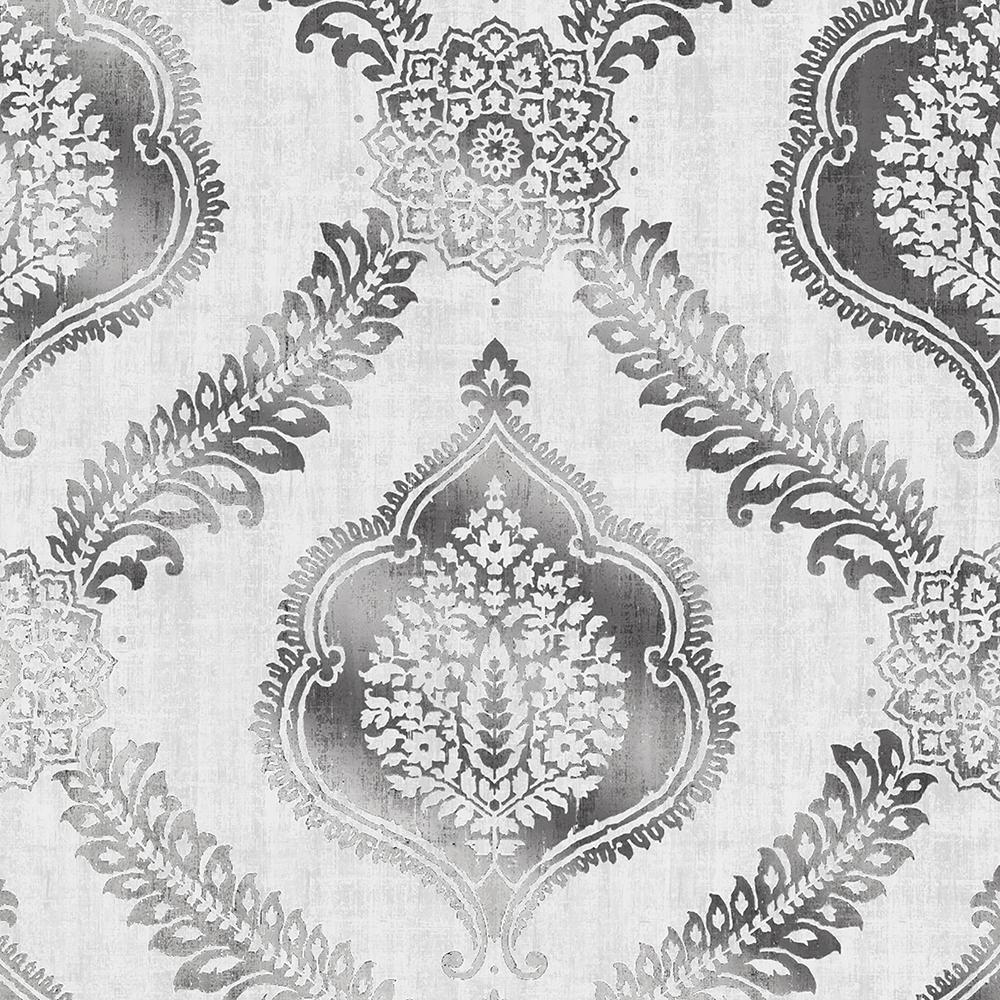 Zoraya Silver Damask Wallpaper