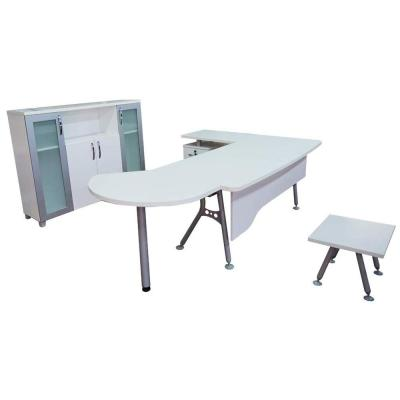 Modern Clover 63 in. L Shaped White and Metallic Grey Wood 3-Drawers Desk Office Suite Furniture (Set of 6)