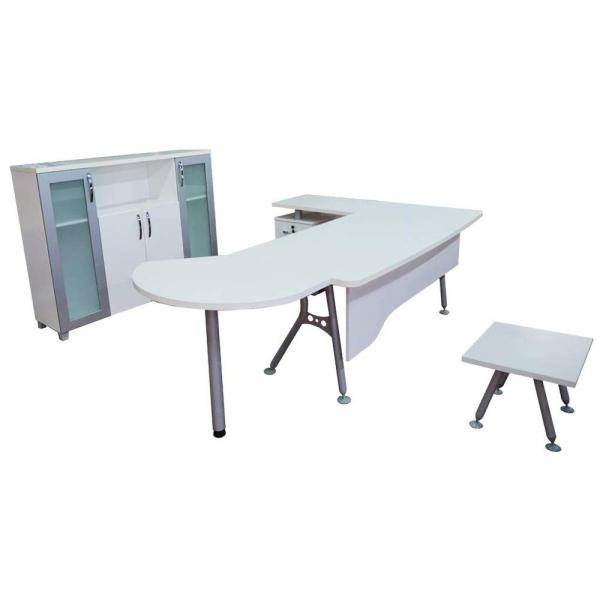 Modern Clover 71 in. White and Metalic Grey Wood L Shaped Desk Office Suite Furniture (Set of 3)