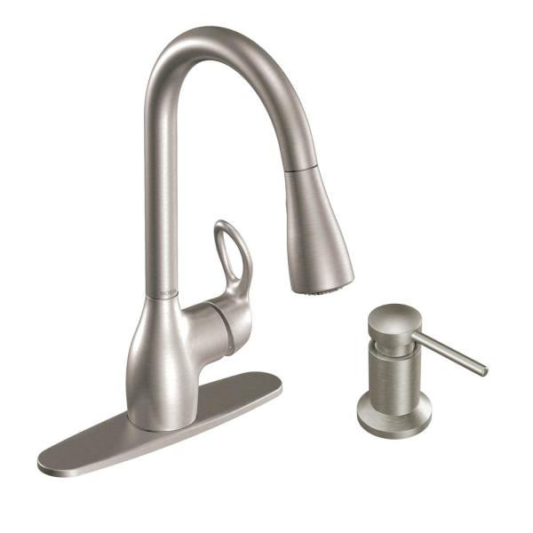 Kleo Single-Handle Pull-Down Sprayer Kitchen Faucet Power Clean in Spot Resist Stainless with Soap Dispenser