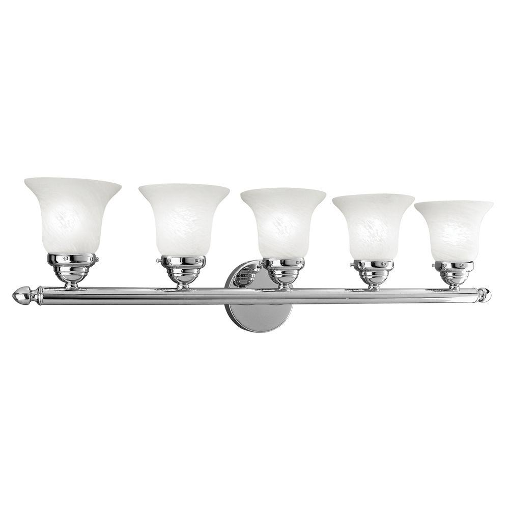 5 Light Bathroom Vanity Light: Livex Lighting 5-Light Chrome Bathroom Vanity Light-1065