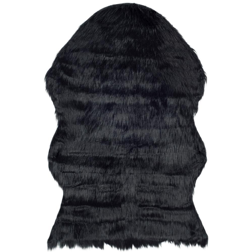 Faux Sheep Skin Black 2 ft. x 3 ft. Area Rug