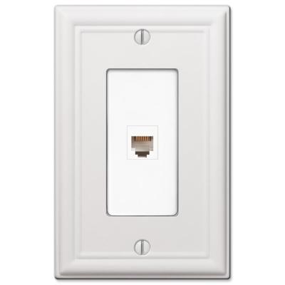 Ascher 1 Gang Phone Steel Wall Plate - White
