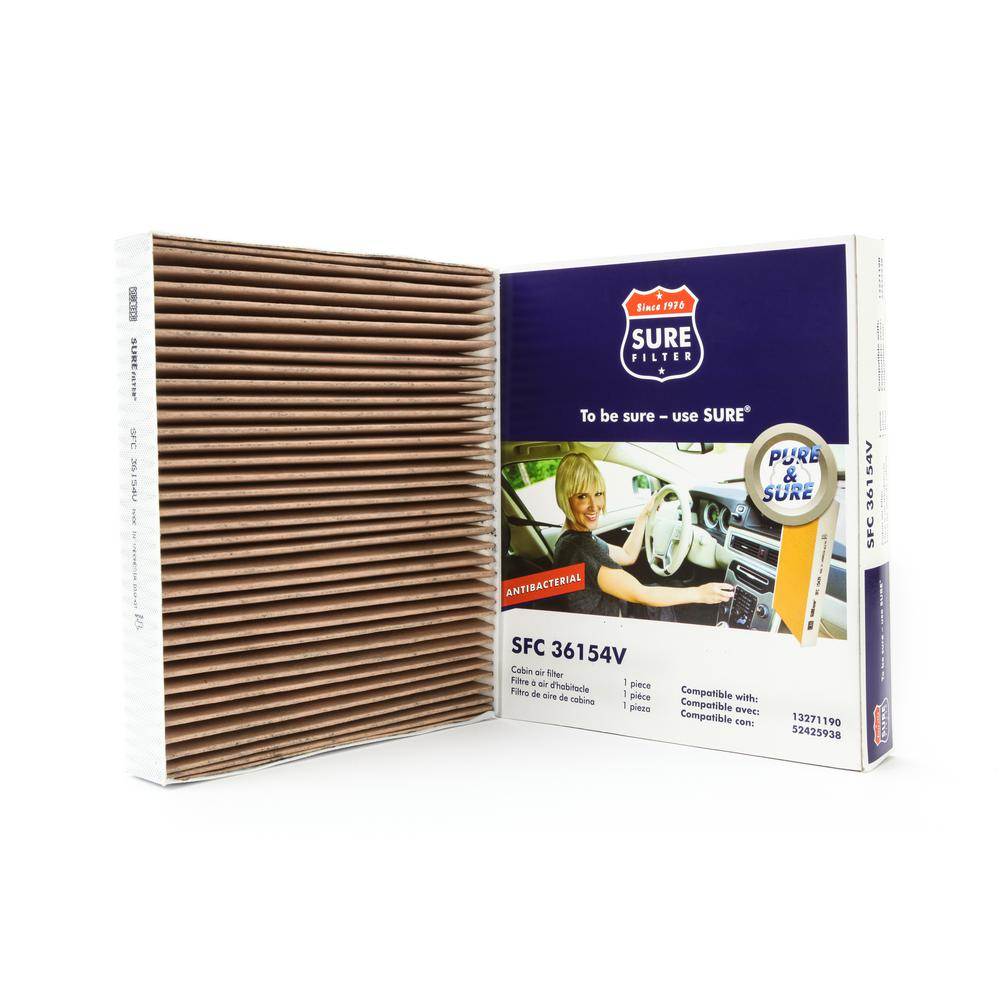 Sure Filter Replacement Antibacterial Cabin Air Filter for Wix 24191  Purolator C36154 Fram CF10775-SFC36154V - The Home Depot