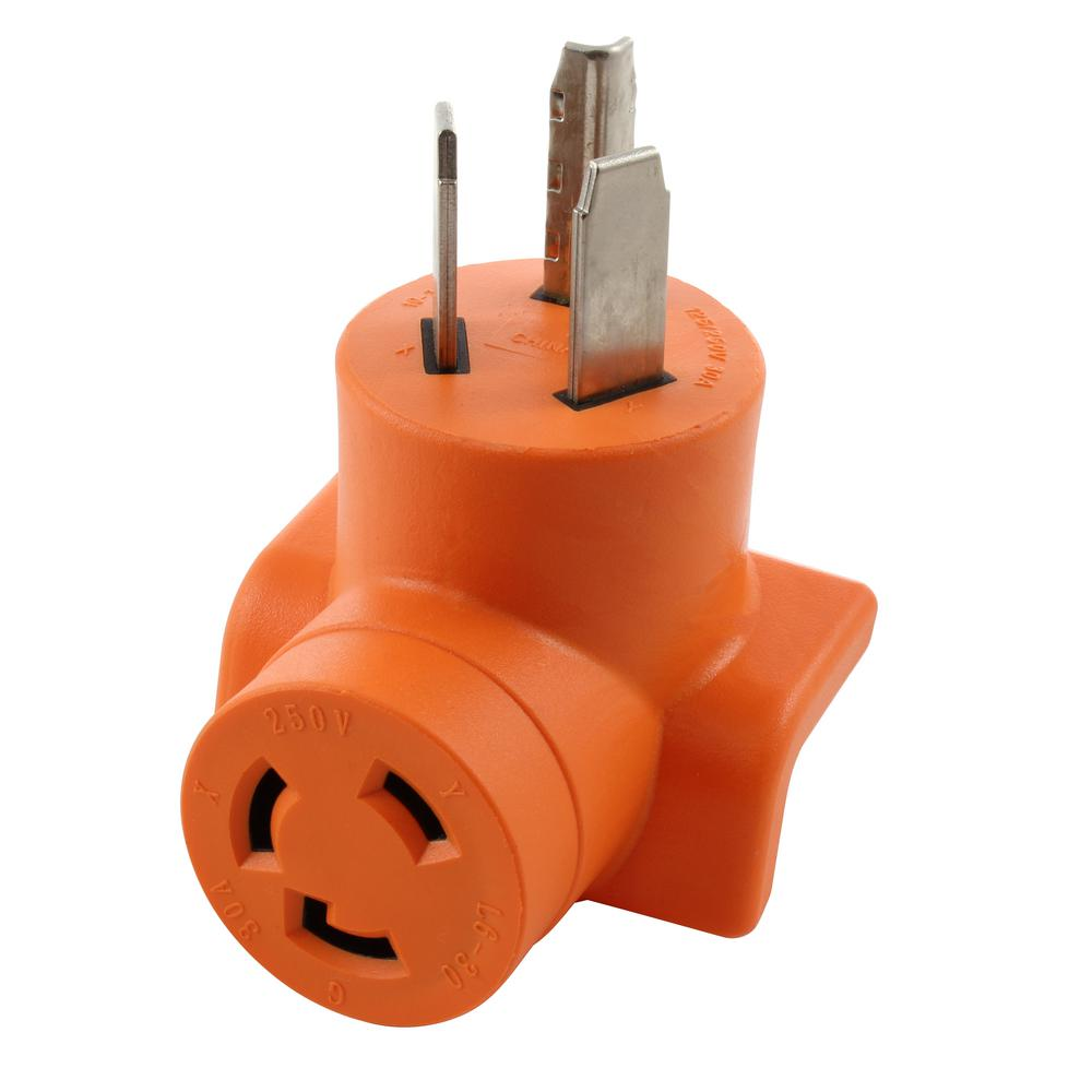 Ac Works 30 Amp 3 Prong 10 30p Dryer Plug To L6 30r 30 Amp 250 Volt Locking Female Adapter Ad1030l630 The Home Depot