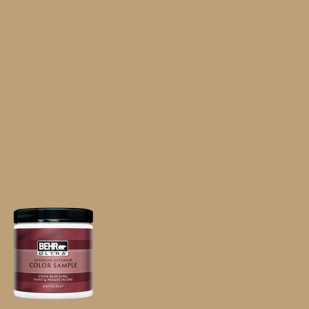 Behr Ultra 8 Oz Pmd 50 Winter Wheat Matte Interior Exterior Paint And Primer In One Sample