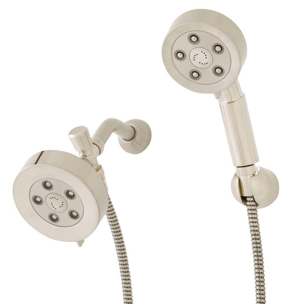 3-spray 4.75 in. High PressureDual Shower Head and Handheld Shower Head in Brushed Nickel