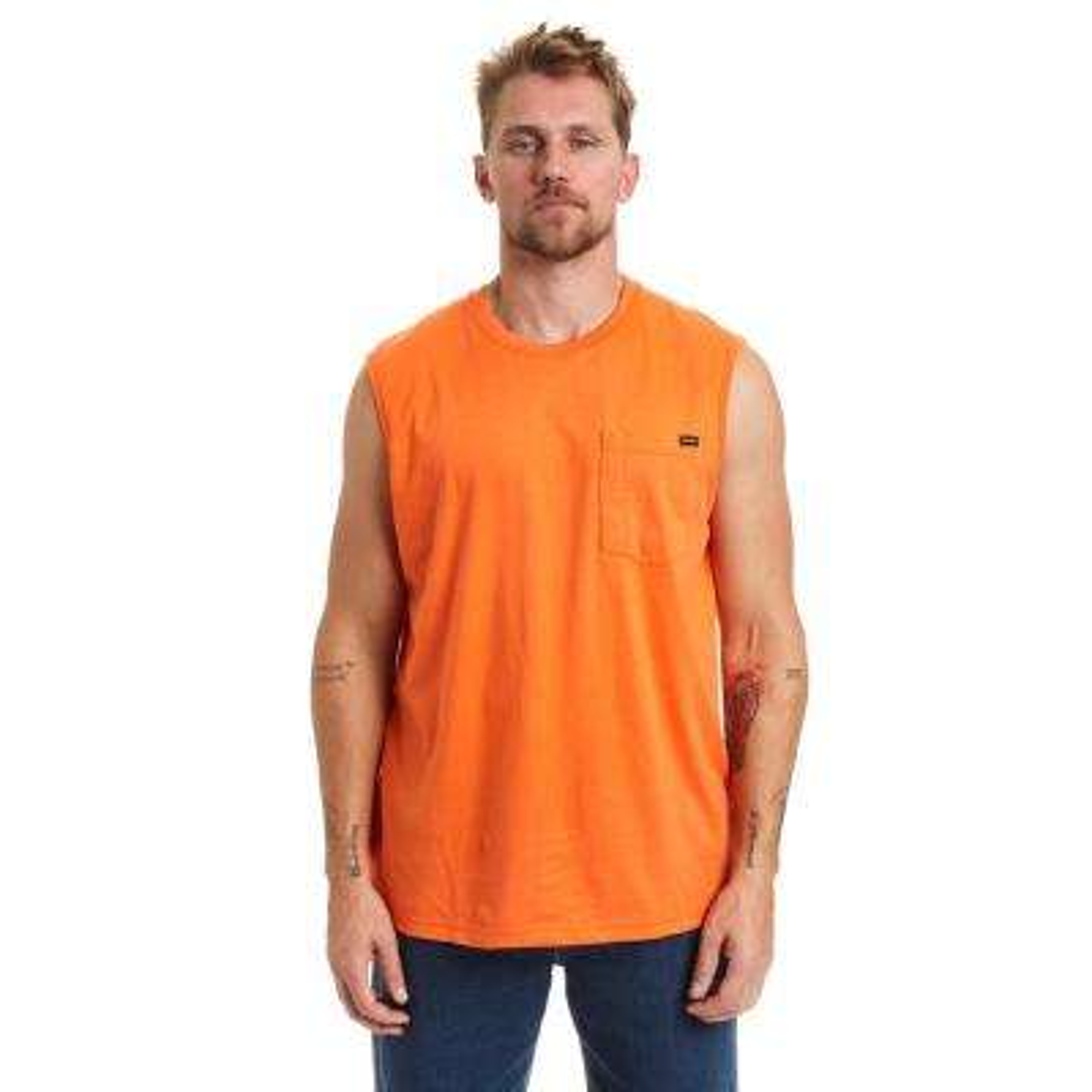 Men's X-Large Orange Sleeveless T-Shirt