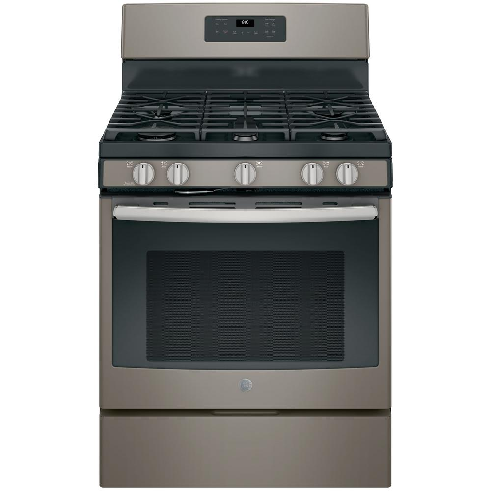 07738fbdc GE 30 in. 5.0 cu. ft. Gas Range with Self-Cleaning Oven in Slate ...