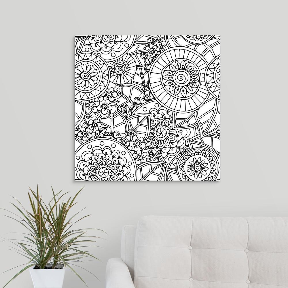 GreatBigCanvas ''Flowers and Circles II'' by Julia Snegireva Canvas Wall Art